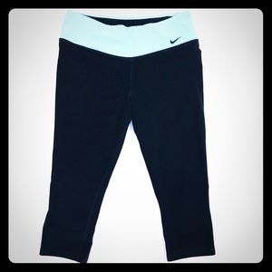 Nike Black with Blue Yoke Capri Leggings